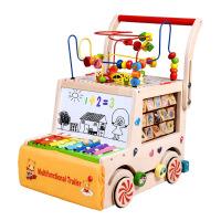 儿童木制学步车多功能婴儿积木益智早教玩具小推车婴儿学步车