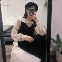 很仙的套装裙秋冬新款韩版气质衬衫加背心裙长裙俏皮时尚两件套女