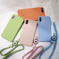 挂绳液态硅胶苹果x手机壳xsmax潮牌7plus潮牌iphone8简约6s xr女 iphone 7/8 砂粉色