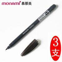 韩国monami/慕娜美04031T01 新概念水性纤维笔/彩色中性笔笔芯 黑色/3支装 可换替芯勾线笔签字笔勾线绘图