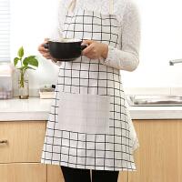 围裙 男女士棉麻布素色格子半身围腰厨房家居防油清洁北欧风工作面包店工作服