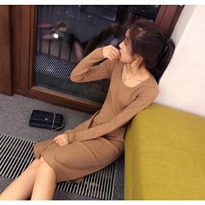 谜秀连衣裙女秋冬装2017新款韩版修身显瘦长袖A字裙打底裙子冬潮