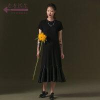 生活在左2019夏季女装新款修身显瘦气质短袖纯色拼接连衣裙中长款