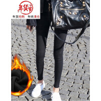 加绒破洞牛仔裤女冬季2018新款韩版九分裤高腰黑色小脚裤紧身裤子