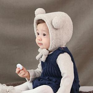 【支持礼品卡】Yinbeler儿童帽小熊毛绒防寒婴儿保暖帽系带包耳帽