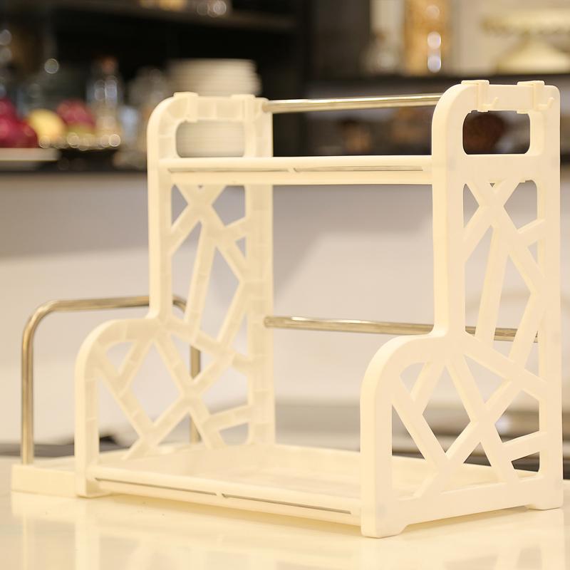 厨房置物架调料架2层 塑料带壁挂厨房用品收纳架落地储物架抖音同款