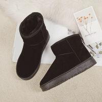 【】短筒雪地靴女学生冬季鞋子加厚加绒保暖中筒棉鞋平底女靴