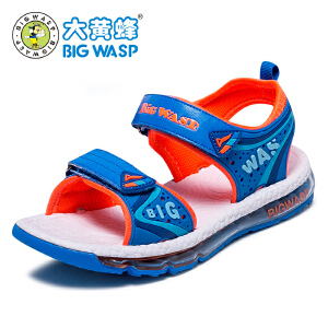 【618大促-每满100减50】大黄蜂男童鞋 2017新款夏季儿童鞋子运动凉鞋 韩版学生气垫鞋百搭