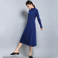 秋冬装新款羊毛长袖a字针织连衣裙女士中长款过膝羊绒衫毛衣外套