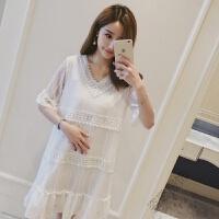 孕妇夏装连衣裙中长款2018夏季时尚蕾丝上衣韩版怀孕短袖裙子