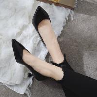 高跟鞋女细跟性感单鞋春秋新款黑色百搭尖头小皮鞋网红6cm猫跟鞋