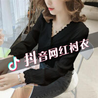 衬衫女长袖2019秋装白色衬衫女学生韩版宽松修身型网红V领衬衫女