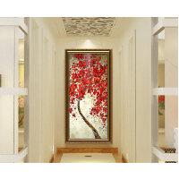 玄关装饰画现代简约无框画欧式挂画手绘3d立体过道走廊发财树油画 110*240 单幅