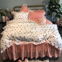 格子草莓床上四件套全棉纯棉被套床裙宿舍三件套