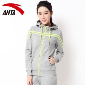 安踏运动外套秋季女装 正品连帽针织卫衣运动外套休闲跑步上衣
