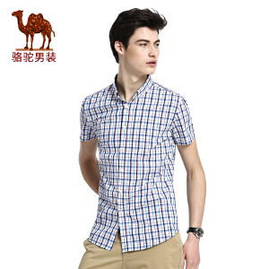 骆驼男装 夏季新款修身无弹商务休闲格子男青年短袖衬衫