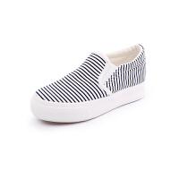 美特斯邦威女条纹厚底帆布鞋286941