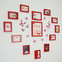 13框心型照片墙5寸相框组合相片墙7寸挂墙画墙壁装饰画