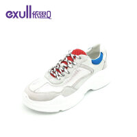 依思q2019夏新款老爹鞋厚底白色真皮透气网面运动鞋女鞋18168009