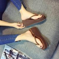 夏季防滑凉拖鞋沙滩拖鞋女夹脚拖韩版坡跟厚底外穿人字拖 33 适合平时32
