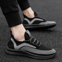 2019夏季透气的鞋子男士运动飞织跑道反光运动鞋街拍小白鞋社会小伙明星同款
