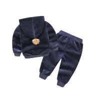 宝宝连帽套装 冬装男童童装儿童卫衣运动长裤