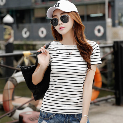 夏季条纹短袖T恤女韩版修身半袖T桖上衣学生百搭打底衫体恤棉小衫