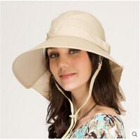 帽子女士夏季韩版时尚大檐户外骑车帽沙滩帽遮阳帽防紫外线太阳帽