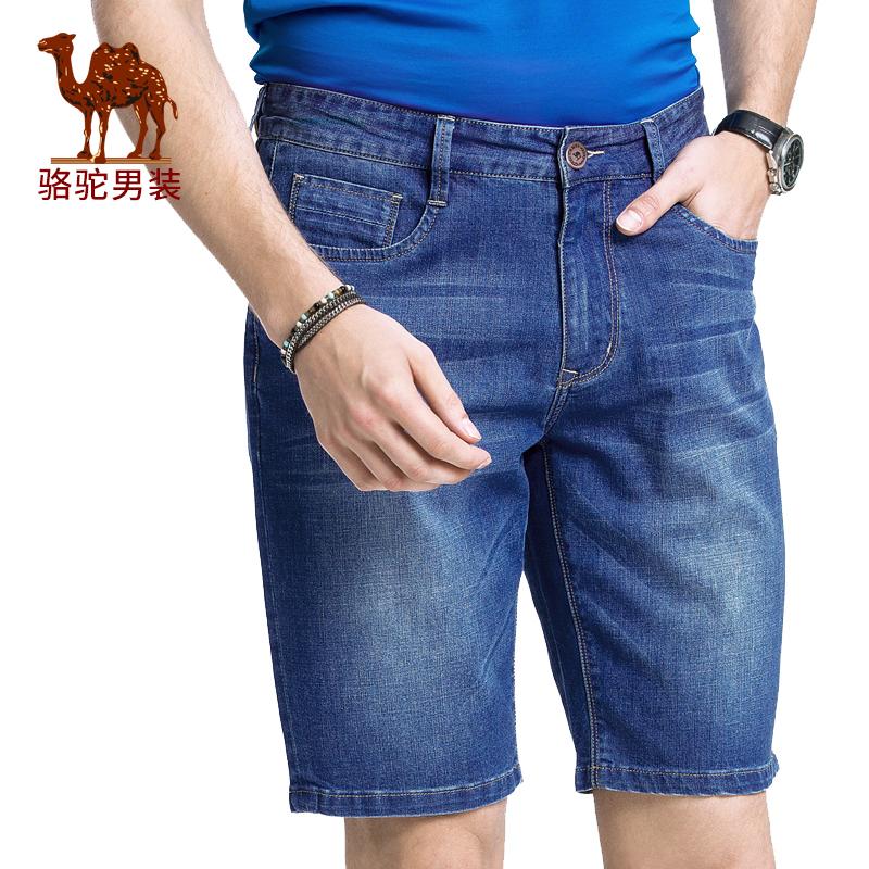 骆驼男装 夏季新款男青年中腰直筒微弹青春水洗牛仔短裤