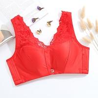 无钢圈背心式小胸聚拢文胸收副乳上托抹胸式内衣中厚 红色