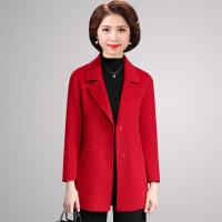 №【2019新款】送50岁妈妈的装双面羊绒大衣女士短款高贵呢子中老年女装秋冬毛呢外套