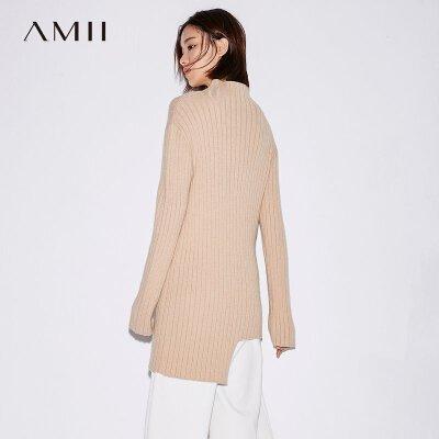 【大牌清仓 5折起】Amii[极简主义]2017秋装新微高领不规则衣摆直筒纯色毛衣11773425