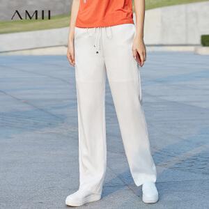 Amii2017夏女新品直筒阔腿大码百搭休闲长裤11731238