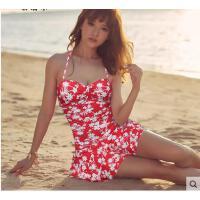 新款温泉泳衣遮肚显瘦女士泳装纸怅甜美印花性感连体裙式泡 支持礼品卡支付