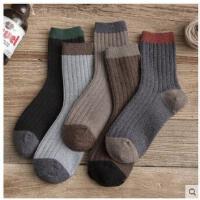男袜拼色时尚长筒袜潮袜子男冬中筒羊毛袜保暖男士加厚纯棉吸汗防臭