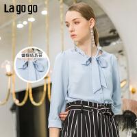 【开学季单件五折叠300-30优惠券】Lagogo2019年夏季新款上衣雪纺洋气小衫蝴蝶结衬衫女IACC333A27