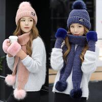 帽子围巾手套三件套 圣诞节礼物送女友盒装浪漫帽子女冬天韩版保暖