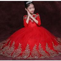 儿童礼服女童走秀晚礼服 主持人蓬蓬裙红色长裙 新款婚纱钢琴演出服