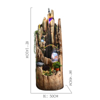 喷泉流水软装饰品家居摆件大型假山养鱼缸加湿水景风水轮书房摆设 浅色大号 尺寸:50*49*141CM