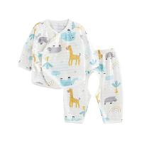 婴儿内衣套装纯棉和尚服新生儿分体睡衣开裆小鹿大象开裆合同套