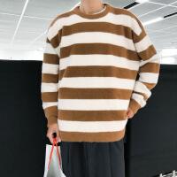 毛衣男韩版潮流冬季针织衫长袖条纹外套宽松线衣chic港风上衣网红