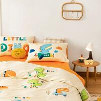 多喜爱新品四件套全棉纯棉卡通三件套学生宿舍床上用品嗷呜小恐龙