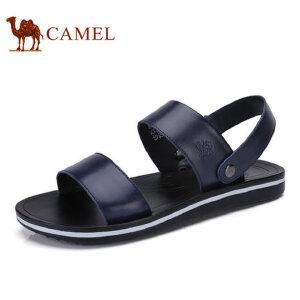 camel骆驼男鞋 夏季新品 日常休闲牛皮凉鞋露趾平底凉鞋男