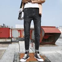 2018秋季新款ins超火的男士牛仔裤男薄款小脚裤修身韩版潮流破洞 黑色