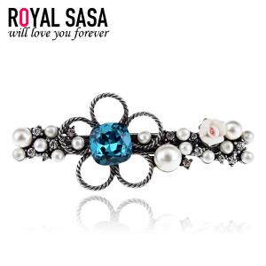 皇家莎莎RoyalSaSa发饰韩国头饰品仿珍珠水钻发夹弹簧夹复古花朵横夹发卡顶夹