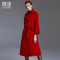 颜域品牌2017冬装新款欧美大翻领系带毛呢大衣A摆廓形长款呢外套