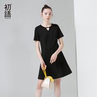 初语初语夏季新款 镂空几何短袖修身显瘦连衣裙