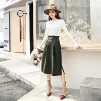 七格格高腰半身裙2018冬季新款纯色韩版女军绿短裙花苞裙中长裙子
