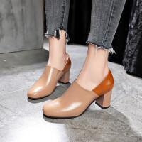 乌龟先森 高跟鞋 女士冬季新款鞋子粗跟绒面短靴子女士尖头马丁靴韩版时尚学生女鞋