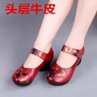 真皮女鞋春秋复古民族风圆头皮鞋休闲中跟单鞋中老年妈妈鞋 红色 款二